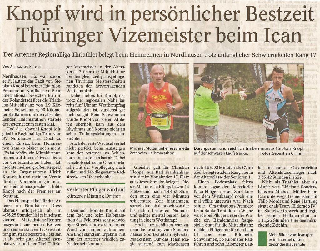Bericht aus der Thüringer Allgemeine zum ICAN Nordhausen. [zum vergrößern > klicken]